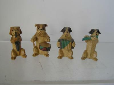 Vintage Black Forest Carved Wood Dog Figurines 4 Folk Art Minis Band members A3