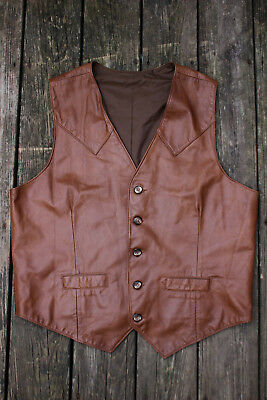 VTG Mens Lariat Leather Brown Vest Motorcycle 50 XL USA Lined Western