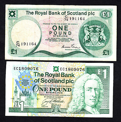 Royal Bank of Scotland 1 Pound Notes - 1983 F & 1992 VF