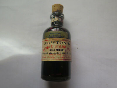 NEWTONS VIOLET RUBBER STAMP INK BOTTLE HAROLD NEWTON ADELAIDE c1920s CLEAR GLASS