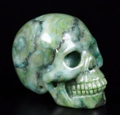 "2.0"" UNKNOWN STONE Carved Crystal Skull, Realistic, Crystal Healing"