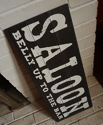 SALOON BELLY UP TO THE BAR Country Western Faux Wood Plank Home Decor Sign NEW