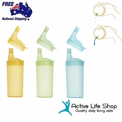 No Spill Drinking Cup Lid & Long Spout Semi-Solid Feeding Aid Cup Adult/Child