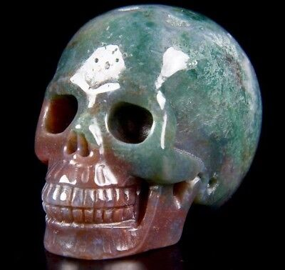 "2.0"" INDIAN AGATE Carved Crystal Skull, Realistic, Crystal Healing"