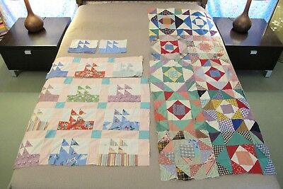 TWO Vintage Feed Sack Hand Set Quilt TOPS: MAYFLOWER & SHADOW BOXES