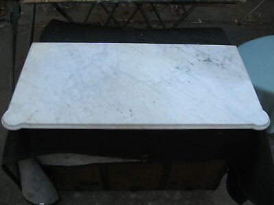 ANTIQUE 1800s WHITE MARBLE SLAB TABLE COUNTER or BATHROOM TOP w/ GRAY VEINS