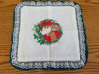 """CHRISTMAS CROSS STITCH PILLOW COVER - 10"""" by 10"""""""