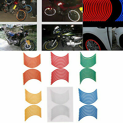 16 Strips Reflective Motorcycle Car Truck Rim Stripe Wheel Decal Tape Stickers