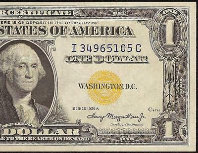 1935 A $1 Dollar Bill Silver Certificate Wwii Ww2 Currency Yellow Seal Note Efau