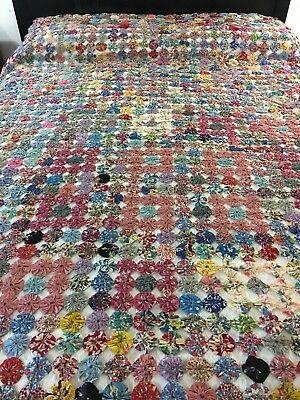 """Amazing Vintage Handmade Feed Sack Yo-Yo Quilt With Pillow Cover 102"""" X 86"""""""