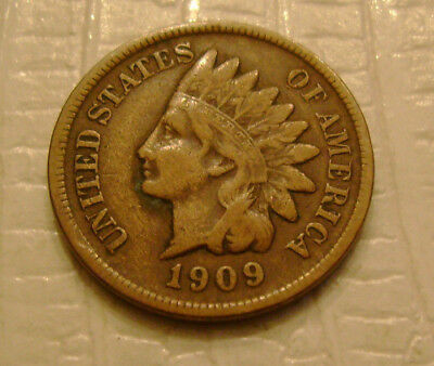 1909 S Indian Head Cent key date old US coin No Reserve