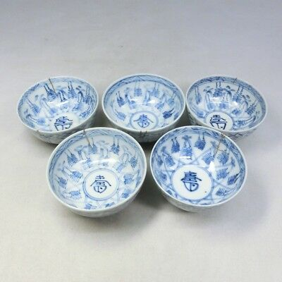 A428: Japanese SETO porcelain five teacups for SENCHA with golden reapir.