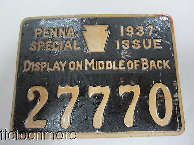 Vintage 1937 Resident Hunter Hunting Metal License Tags Pa Penna Pennsylvania