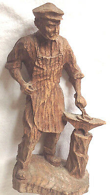 1932 Black Walnut Root Flat Plane Wood Carving of Blacksmith - Signed & Dated