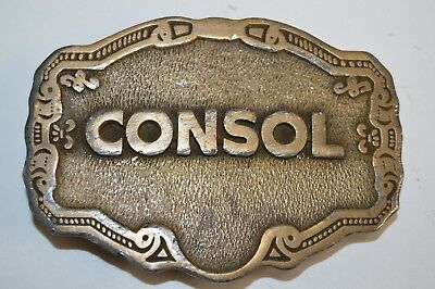 NICE Vintage 1970s CONSOL Coal Solid Brass Tone Belt Buckle Rare