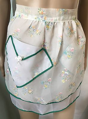 Chiffon White Green & Pink Apron Floral Retro Hostess Reversible Holiday Serving