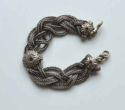 ANTIQUE VICTORIAN MESH BRACELET SILVER TONE METAL SILVER ? 8'' inches