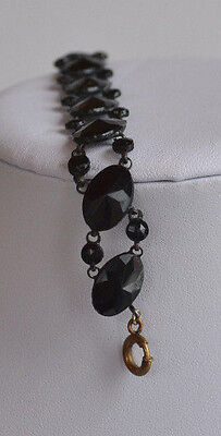 Antique Victorian Black Jet Faceted Glass Mourning Link Bracelet