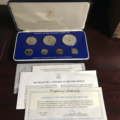 Philippines 1982 7-Coin Proof Set With Case, Certificate & Literature Complete