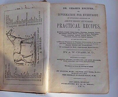 DR CHASE'S RECIPES book 1870 Michigan information treatment disease homeopathic