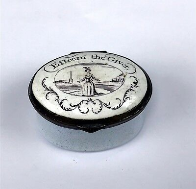 Antique 18thC Battersea Bilston Enamel Patch Box  Lt. Blue w/ Caption on Lid