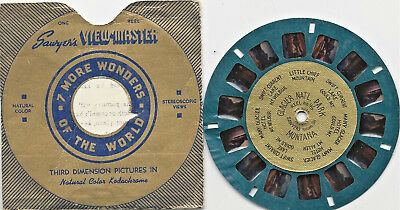 Viewmaster - Sawyer's Blue Reel With Gold Foil Center Glacier National Park #46