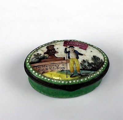 Antique 1805 Battersea Bilston Oval Patch Box, in Memory Ed.Nelson 21 Oct. 1805