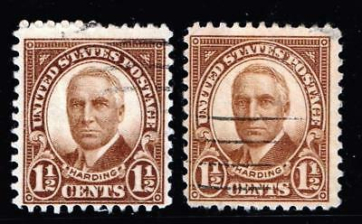 USA STAMP #684 1-1/2c brown Harding 1930 CRACKED PLATE OR AT RIGHT STAMP