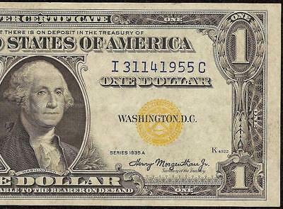 1935A $1 Dollar Bill Silver Certificate Wwii Currency Yellow Seal Note 1955 Ef