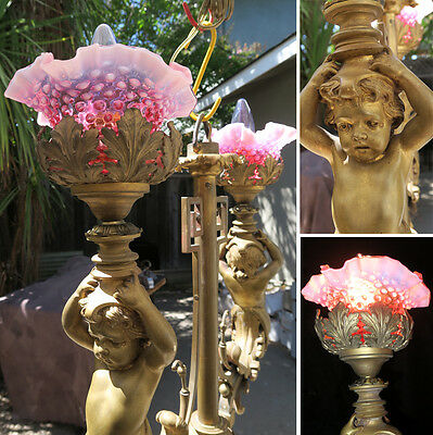 Antique Cherub Lamp Bronze Chandelier Nouveau French figurine vintage Cranberry