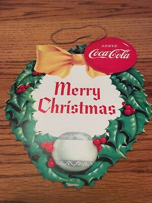Vintage Coca-Cola Christmas Heart Shaped Two Sided Sign
