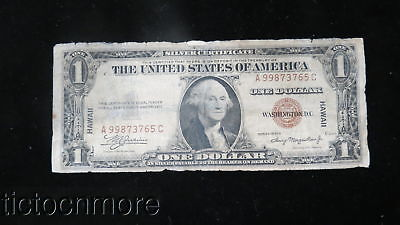 Us 1935 A $1 Silver Certificate Hawaii Emergency Note Serial #a 99873765C