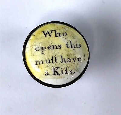 "Tiny 18thC Battersea Bilston Enamel Patch Box ""Who Opens This Must Have a Kiss"""
