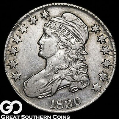 1830 Capped Bust Half Dollar, Lustrous AU Early Silver