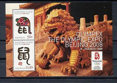 "Christmas Islands:2008 Year of the Rat M/Sheet Optd"" Olimpex BEIJING 2008"". MNH"