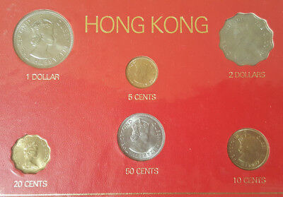 1972-1975 Hong Kong Currency Set - Six Coins & 1 Cent Note