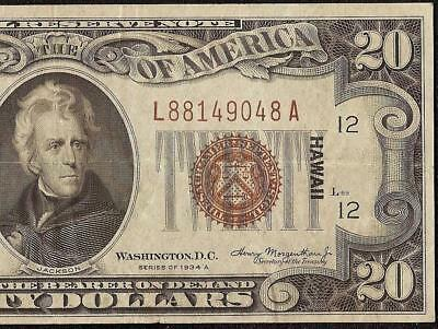 1934A $20 Dollar Bill Hawaii Brown Seal Fed Note Wwii Ww2 Currency Paper Money