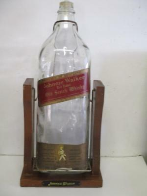 Old Empty Johnnie Walker Red Label 1 Gallon Bottle in Cradle with Stand Man Cave