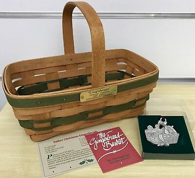 Longaberger Christmas Collection Gingerbread Basket and Pewter Ornament