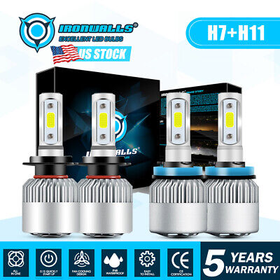 Combo H11 H7 LED Headlight Bulbs Kit High Low Beam Total 1960W 294000LM 6500K 4x