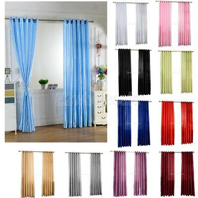Pure Colors Single Panel Blackout Curtain Window Door Drapes Thermal Insulated