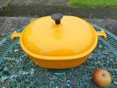 Le Creuset Orange Enzo Mari La Mama Cast Iron Enamel Casserole Pan Dutch Oven