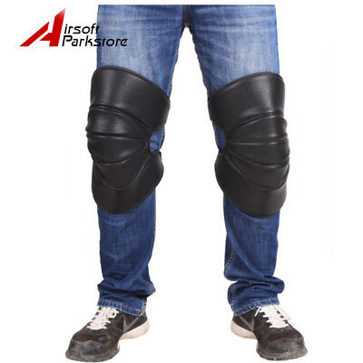 1 Pair Black Motorcycle Knee Pads Motocross Legs Support Protective Gear PU leat