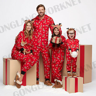 Family Matching Christmas Pajamas Set Women Baby Kids Deer Sleepwear Nightwear