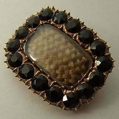ANTIQUE GEORGIAN (c.1830) 9CT ROSE GOLD AND HAIR MOURNING BROOCH