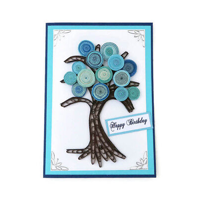 NEW Card Tree of Life Paper Quilling-Birthday-Turquoise-Nature Gardener Florist