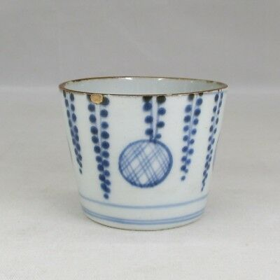 A405: Real old Japanese IMARI blue-and-white porcelain cup SOBA-CHOKO in18c. 3