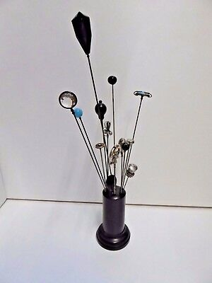 Collection of Antique Hat Pins in Ebony Stand - Some Silver Examples and Jet MOP