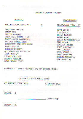 Queens Park Supporters V Meadowbank Team '85 17/4/1988 Supporters Trophy