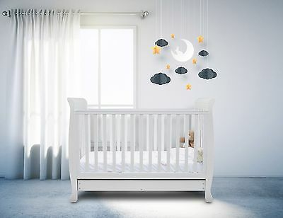 Ickle Bubba Luna 3-in-1 Baby Toddler Cotbed: Classic White Cot Bed